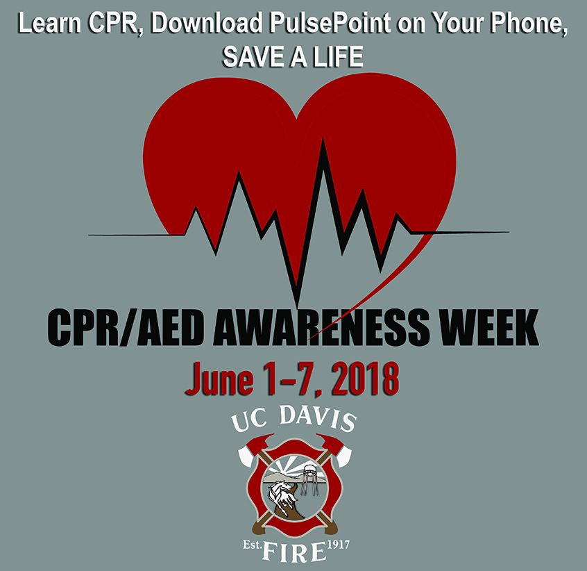 Logo for UC Davis Fire Dept. CPR Week 2018