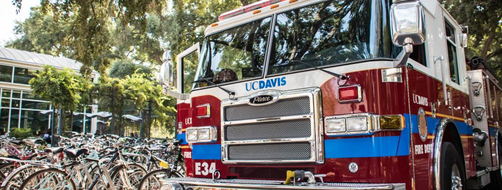 UC Davis Fire Department Engine 34 parked near the MU.