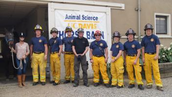 UC Davis Firefighters with trainers from Vet Med and Animal Sciences.