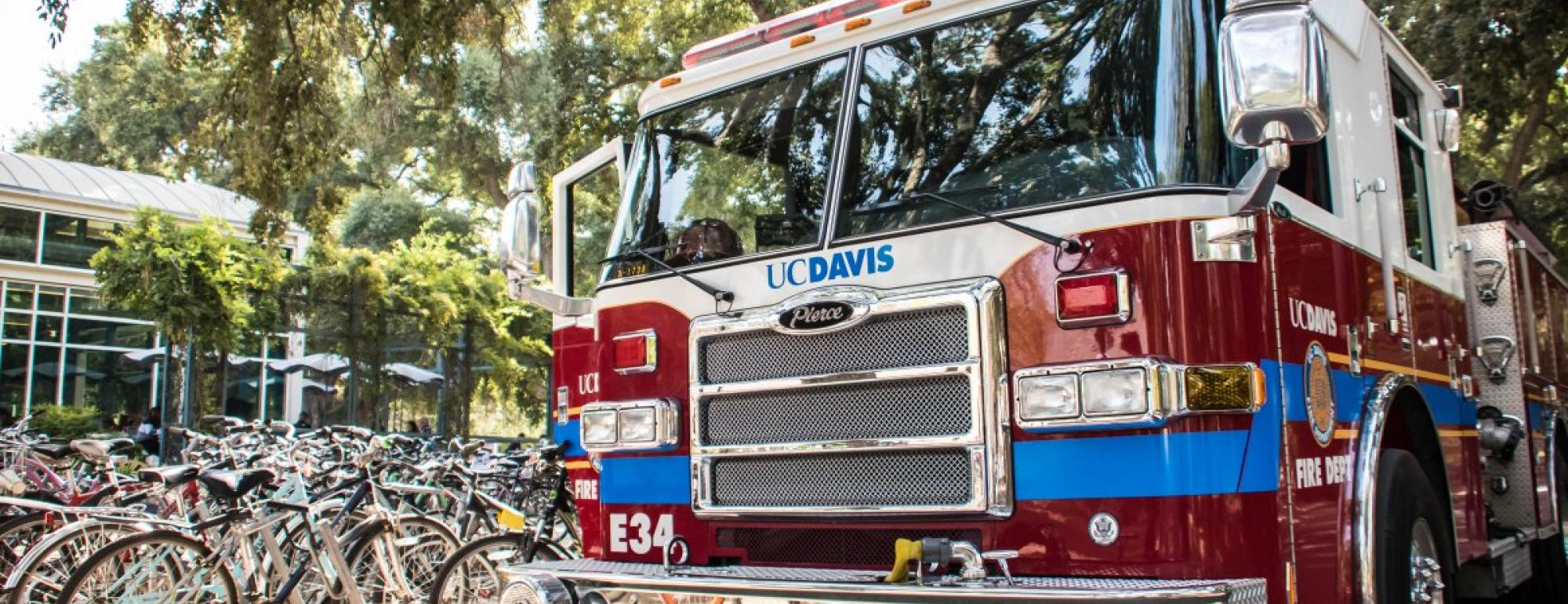 UC Davis Fire Department Engine 34 parked outside of the MU