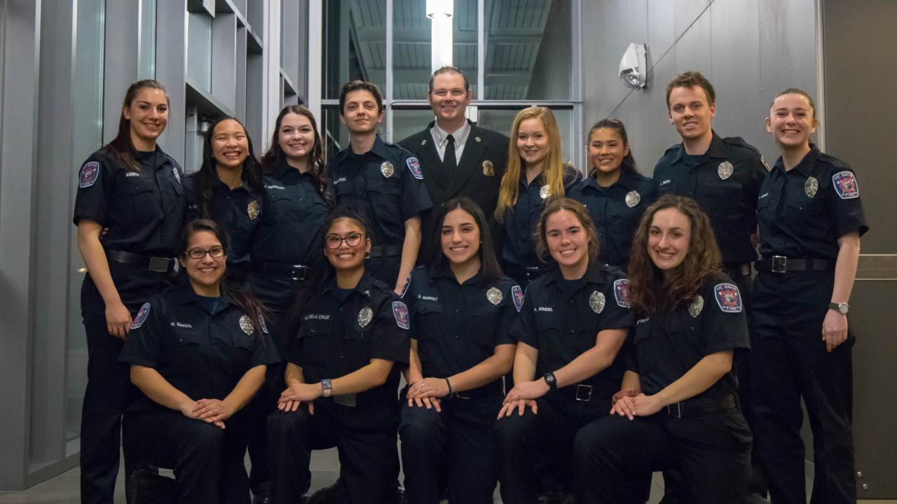 UC Davis Fire Department Welcomed 7 new Student EMTs to the Department at February Badge Pinning.