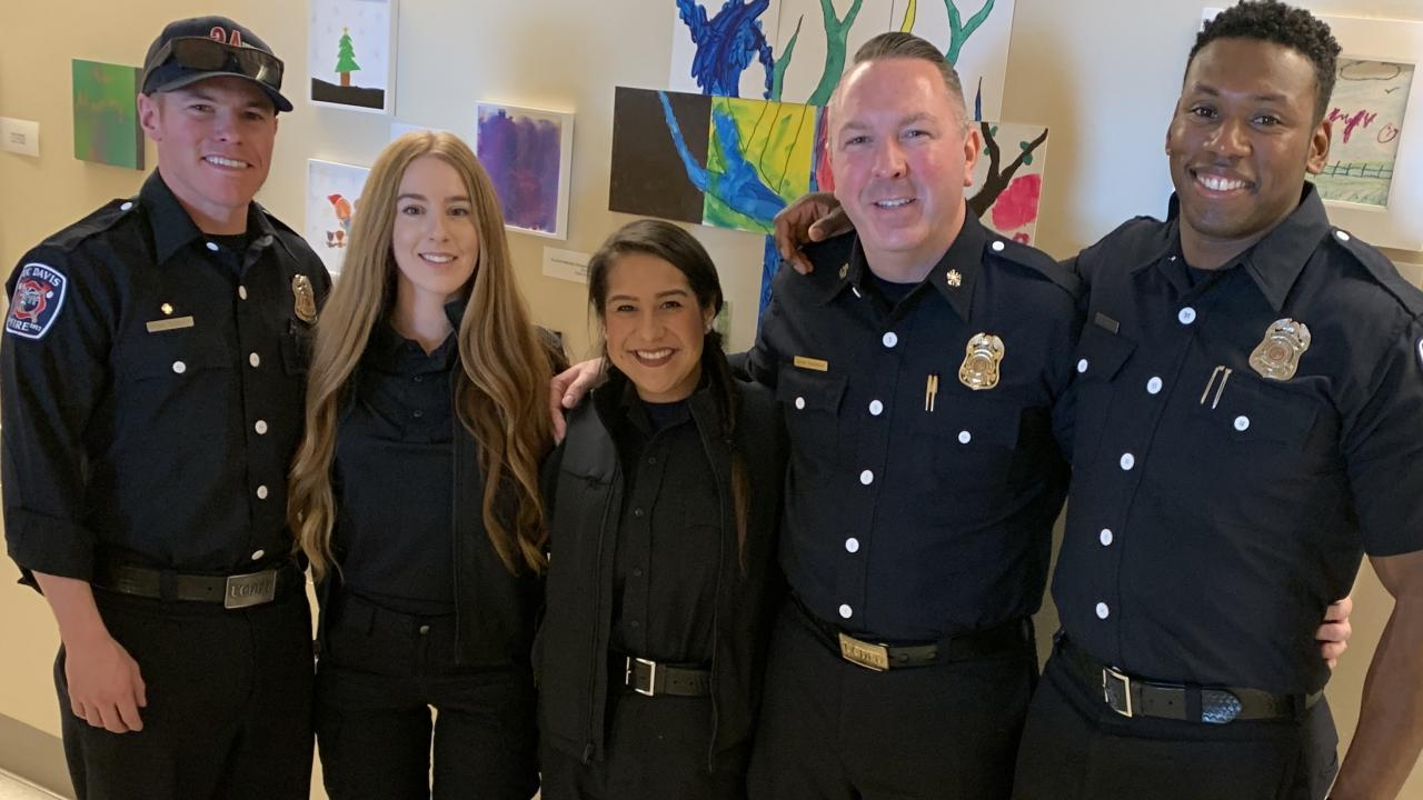 UC Davis Fire Personnel Visit the UC Davis Medical Center for a Valentine's Day Crafting Event