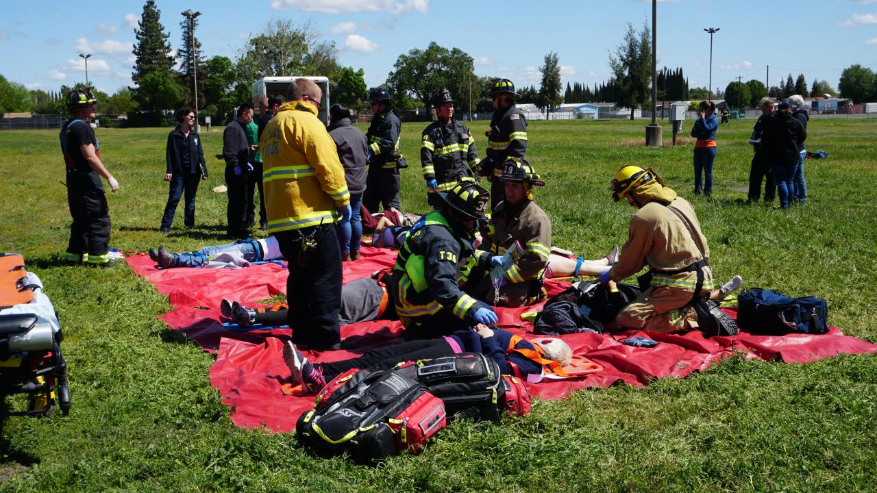 Firefighters from UC Davis and other Yolo County Fire Departments participated in the multi-day MCI event.