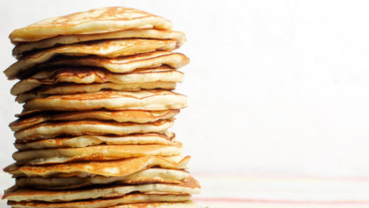 tall stack of pancakes