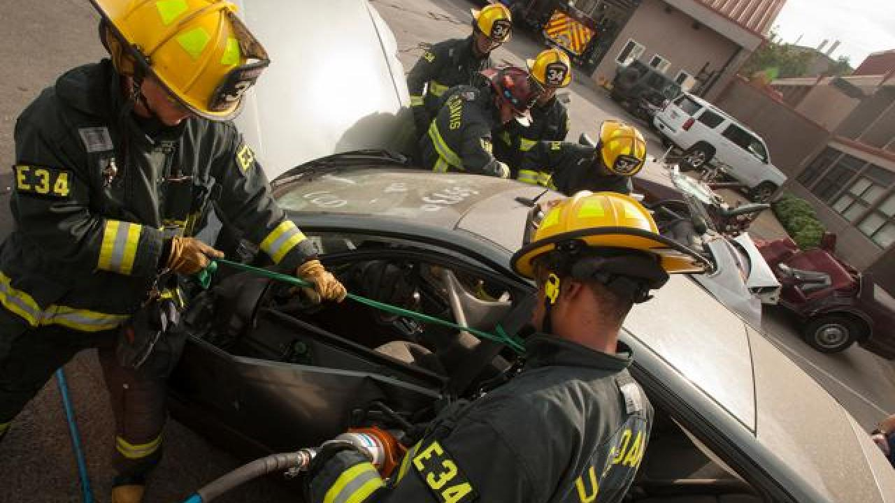 UC Davis Student Firefighters practice vehicle extrication.
