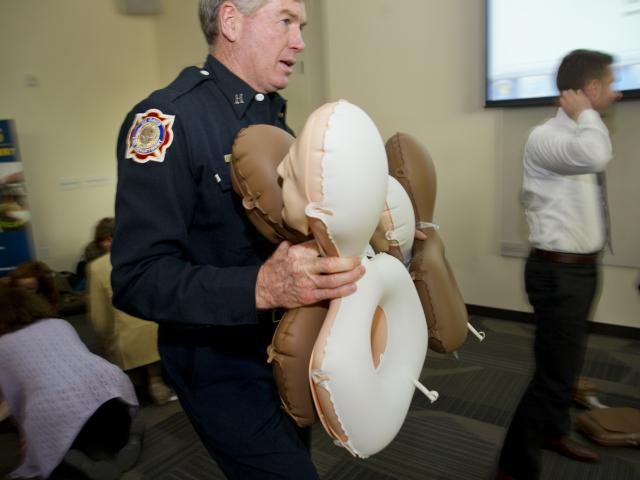 UC Davis Firefighters teach a staff CPR class.
