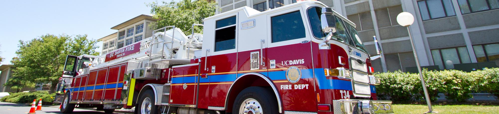 UC Davis Fire Truck 34 parked outside of an emergency call.