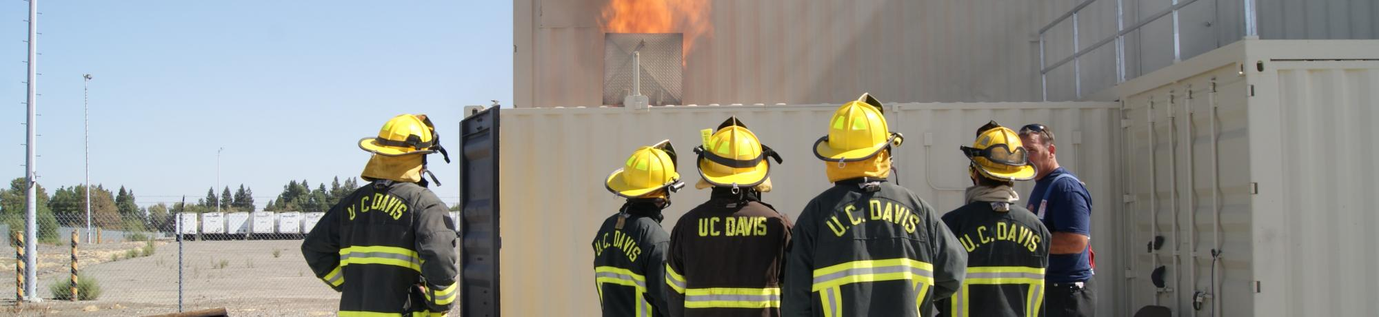 UC Davis Student Firefighters learn about fire behavior.