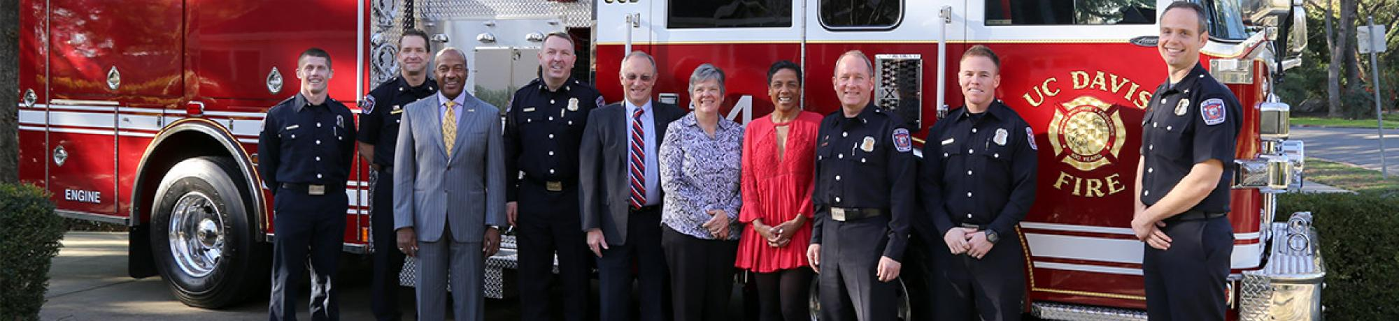 UC Davis Chancellor May welcomes home UCDFD firefighters deployed to major fires.